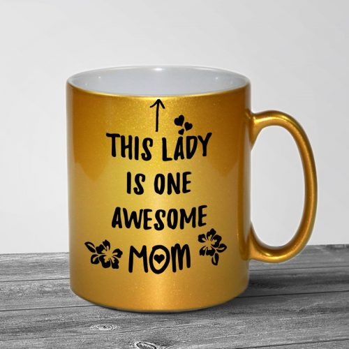 Awesome Mom Gold Metallic Mug